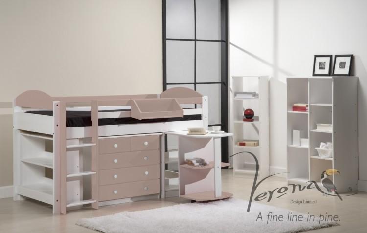Verona Maximus Wooden Pine Whitewashed Mid Sleeper Bed Set