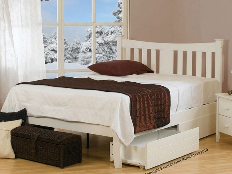 dfe9d3359533 Sweet Dreams Kingfisher 4ft Small Double White Painted Wooden Bed Frame
