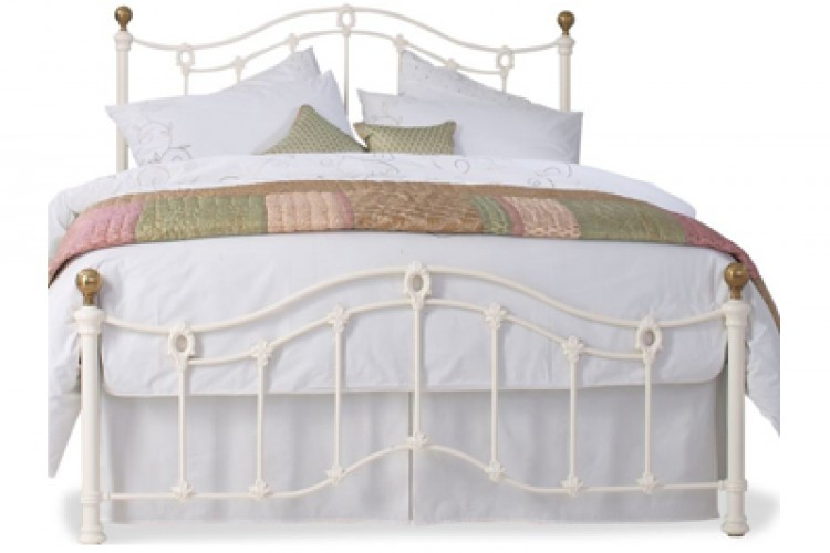 OBC Clarina Low Foot End 6ft Super Kingsize Ivory Metal Bed Frame by ...