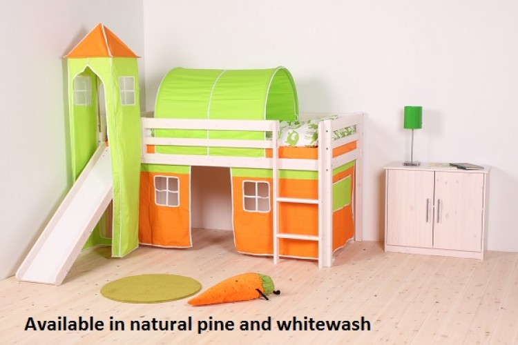Thuka Hit 23 Childrens Mid Sleeper Bed Frame Available In Natural Or Whitewash