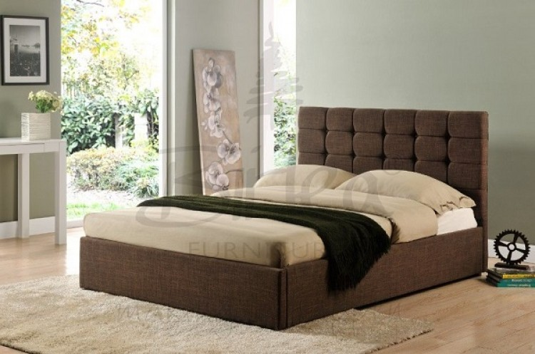 birlea isabella 4ft6 double brown upholstered bed frame