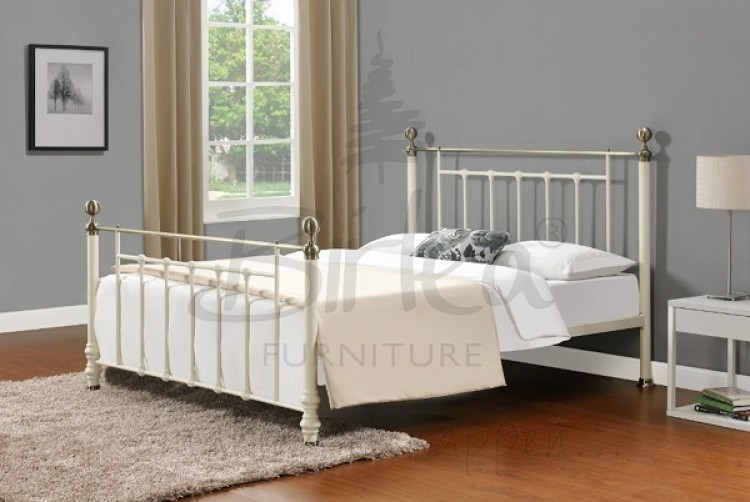 Birlea Charlotte 4ft 6 Double Cream Metal Bed Frame By Birlea