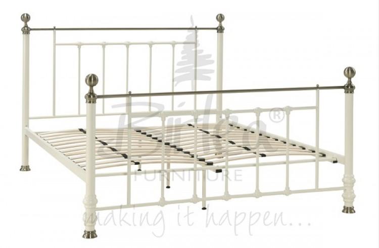 Double Cream Metal Bed Frame Birlea