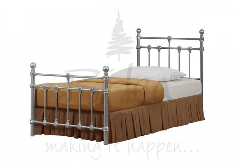 Birlea Atlas Bed Frame 3ft Single Silver Metal Bed Frame