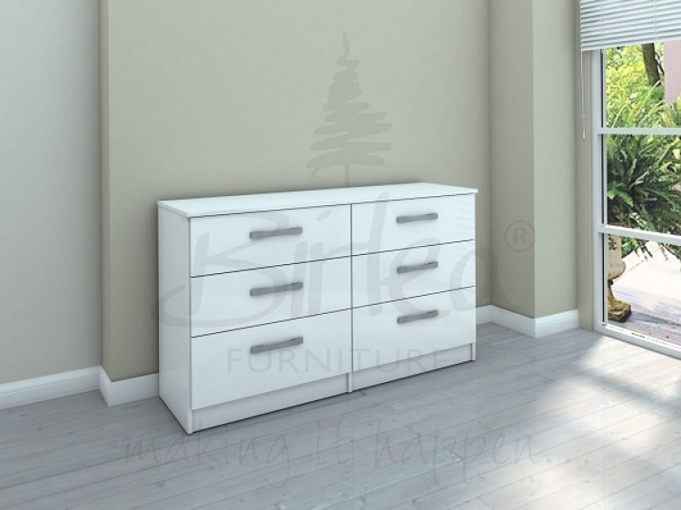 Birlea Lynx White With White Gloss 6 Drawer Wide Chest Of