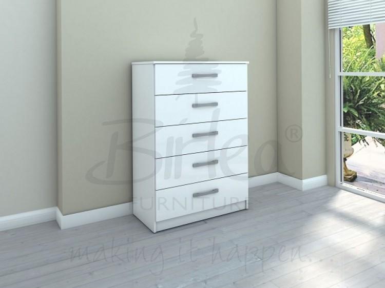 Birlea lynx 5 drawerr chest in white