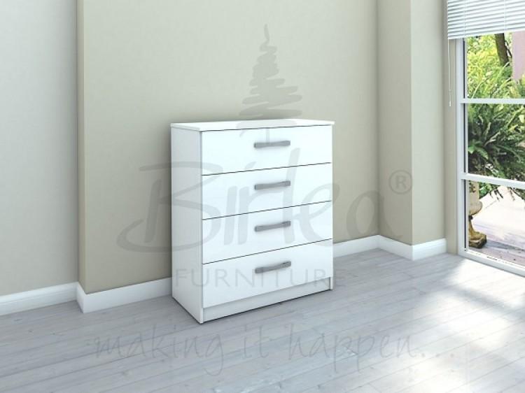 White Gloss 4 Drawer Chest Of Drawers Birlea