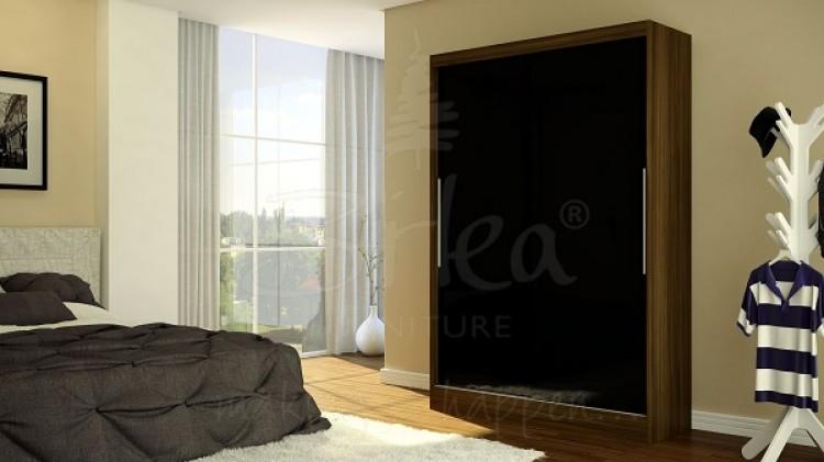 birlea lynx walnut with black gloss sliding door wardrobe by birlea. Black Bedroom Furniture Sets. Home Design Ideas