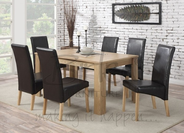 Birlea Gloucester Oak Veneer Dining Table Set With Six Chairs By Birlea