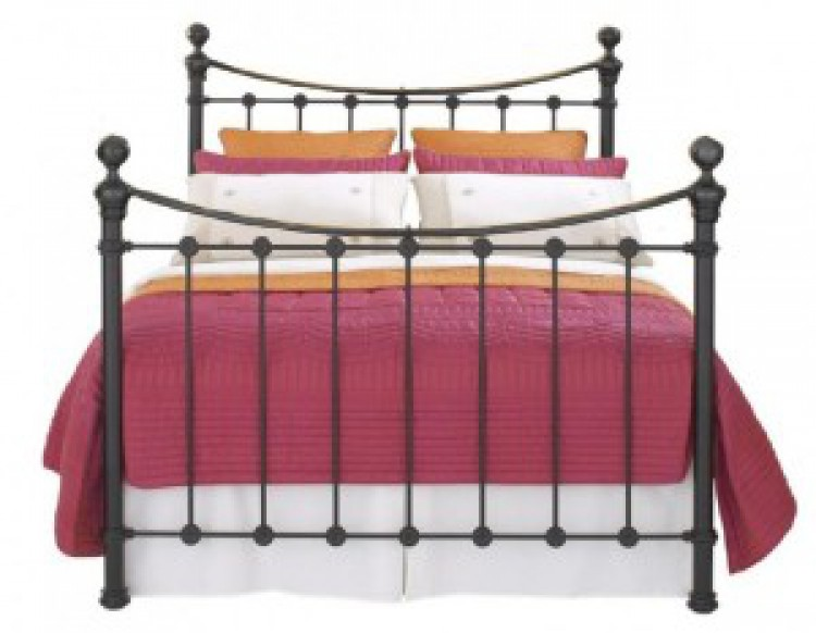 Obc selkirk 6ft super kingsize solo satin black metal bed for Divan footboard