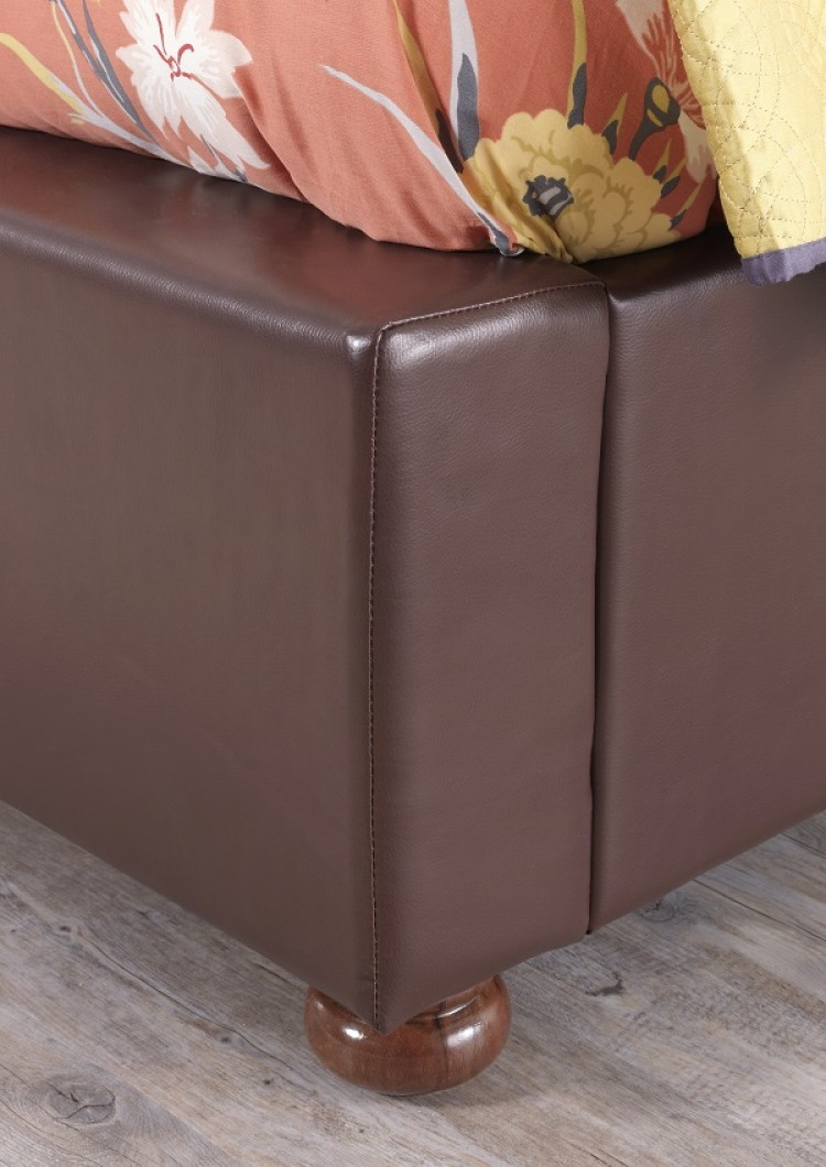Serene Siena 6ft Super King Size Brown Faux Leather Bed