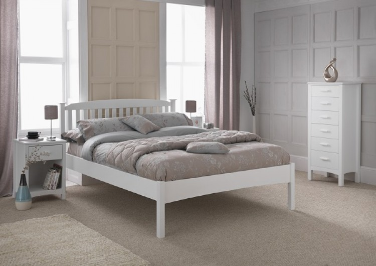 Serene Eleanor 4ft6 Double White Wooden Bed Frame With Low