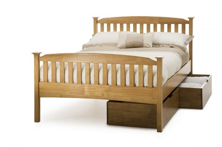Serene Eleanor 3ft Single Oak Wooden Bed Frame With High