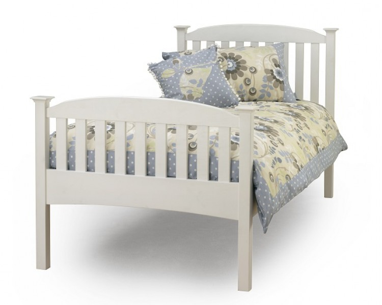 Serene Eleanor 3ft Single White Wooden Bed Frame with High Footend ...