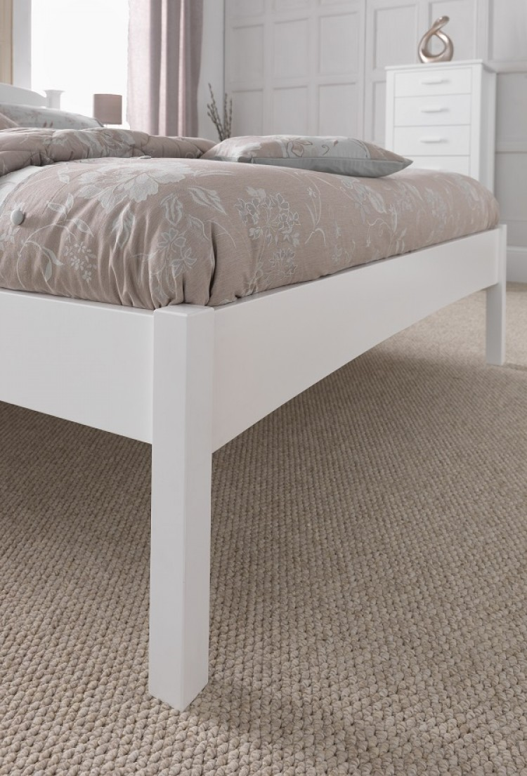 Serene Eleanor 4ft Small Double White Wooden Bed Frame With High