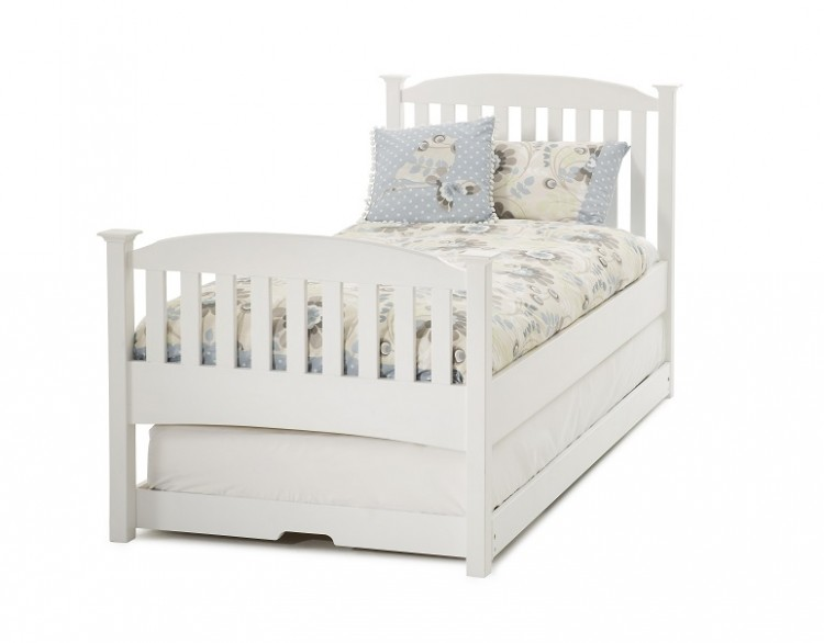 ... Single White Wooden Guest Bed Frame With High Footend Serene ...