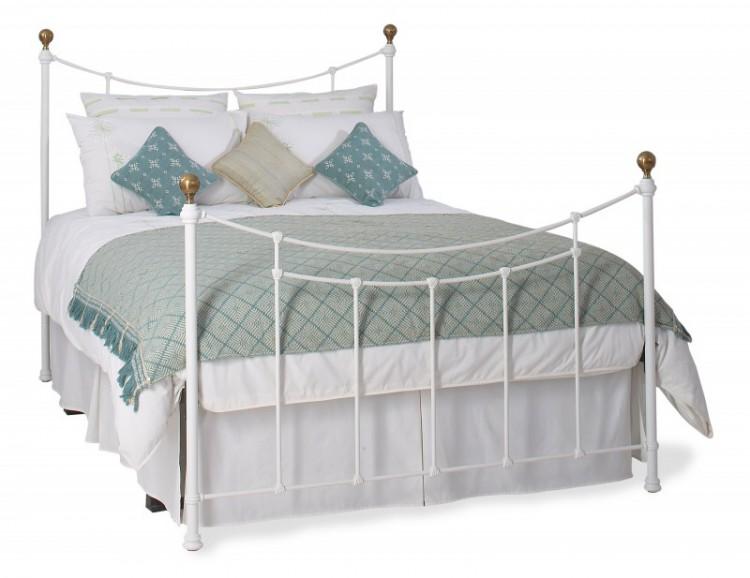 Obc Virginia 5ft Kingsize Satin White Metal Bed Frame By Original