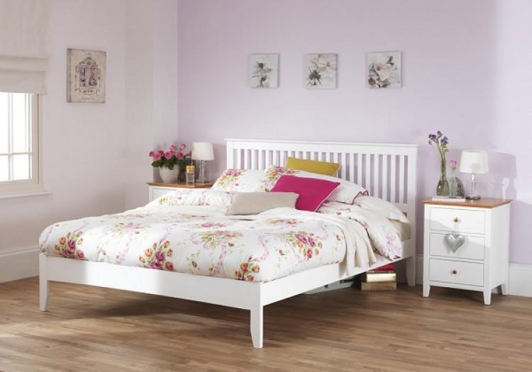 serene freya 4ft small double white wooden bed frame serene