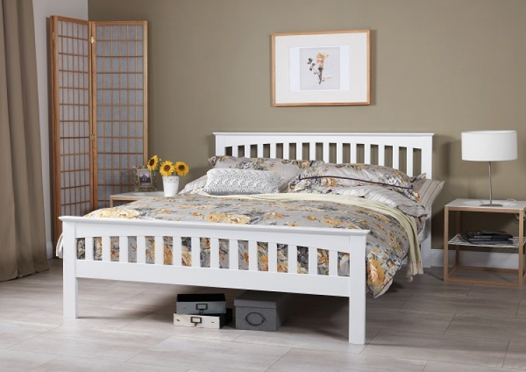 Serene Amelia 5ft Kingsize White Wooden Bed Frame By
