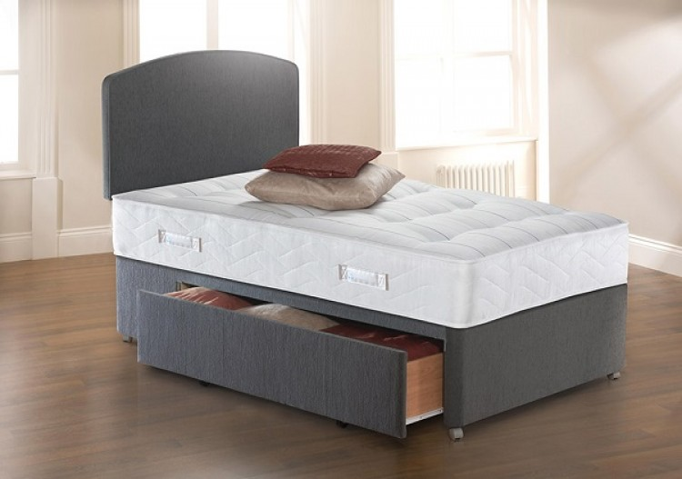Sealy solo ultra tufted 3ft6 large single divan bed by sealy for New single divan beds