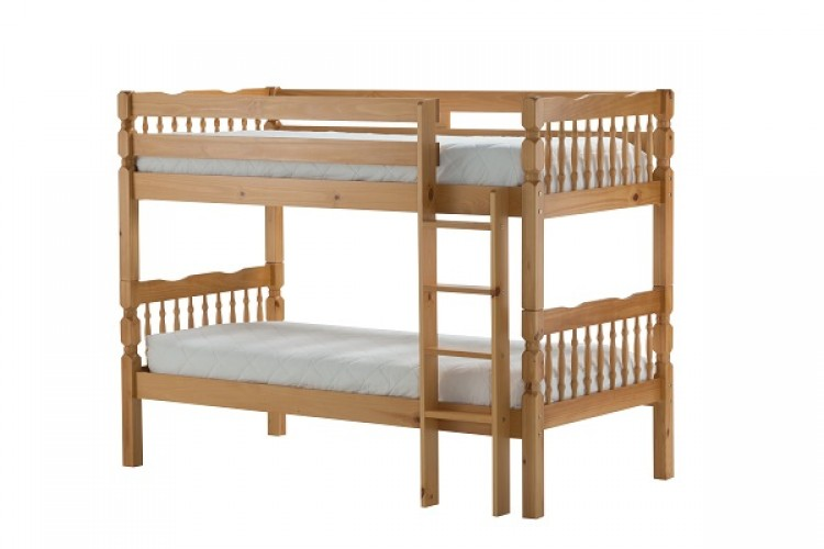 Birlea weston 3ft single wooden pine bunk bed frame for Single bunk bed frame