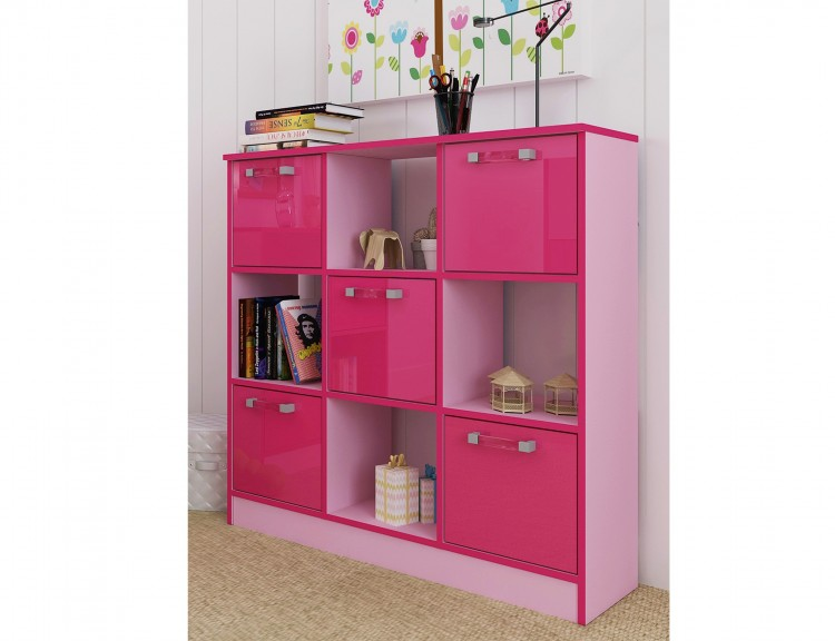 Gfw ottawa 2 tones gloss pink 3x3 cube storage unit by gfw for Bedroom furniture storage solutions