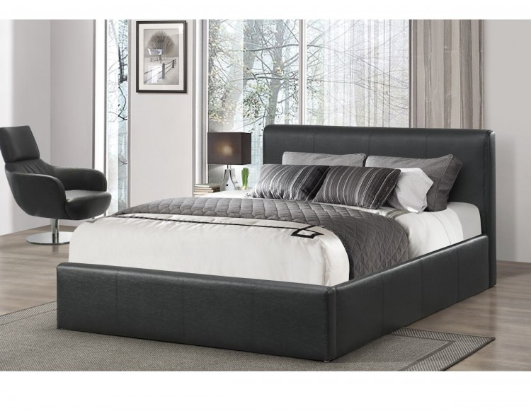 Birlea Ottoman 4ft Small Double Black Faux Leather Bed