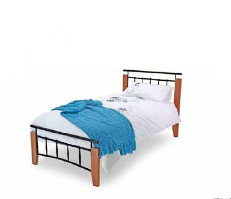 Metal Beds Kentucky 3ft (90cm) Single Black and Antique Oak Bed ...