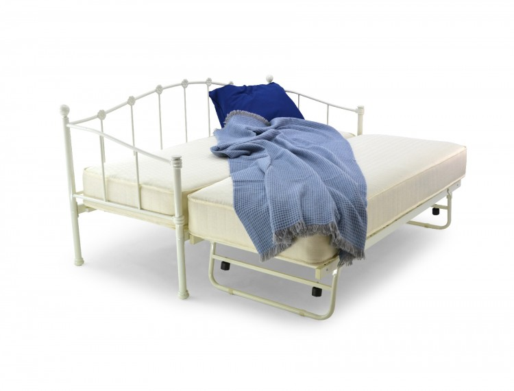 Metal Beds Paris 2ft6 75cm Small Single Ivory Metal Day Bed Frame