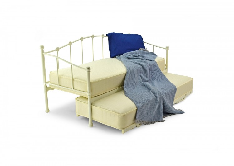 Metal Beds Paris 3ft 90cm Single White Metal Day Bed Frame By