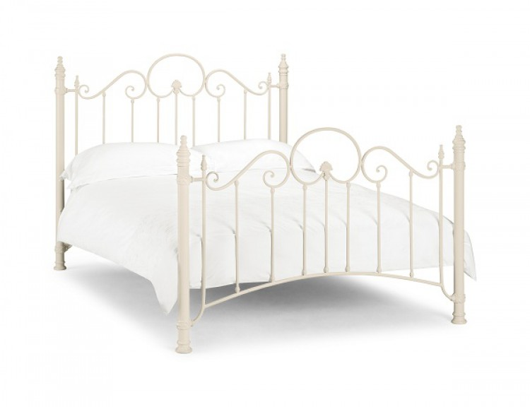Julian Bowen Florence 4ft6 Double Stone White Metal Bed Frame by ...