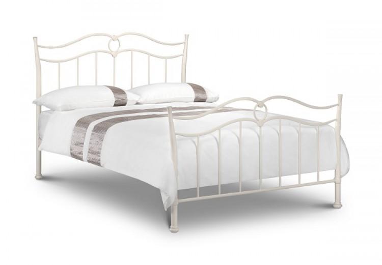 Julian Bowen Katrina 3ft Single Stone White Metal Bed Frame by ...