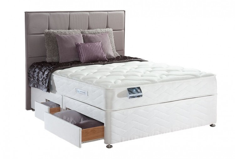 Sealy pearl memory 3ft6 large single divan bed by sealy for Single divan bed headboards