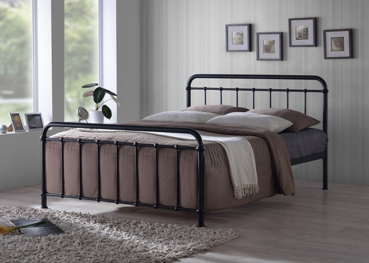 Time Living Miami 4ft6 Double Black Metal Bed Frame By
