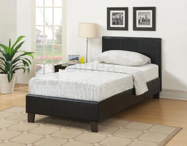 Birlea Berlin 3ft Single Black Faux Leather Bed Frame by Birlea