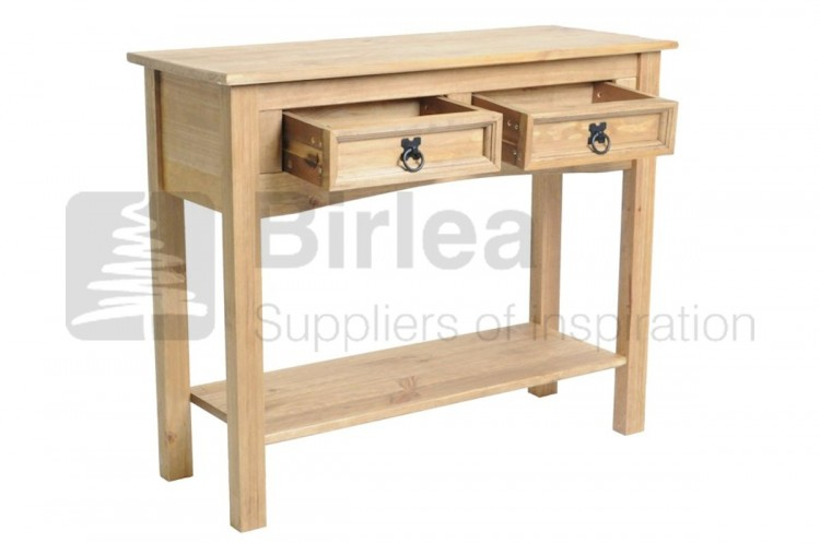birlea corona pine 2 drawer console table with shelf by birlea. Black Bedroom Furniture Sets. Home Design Ideas