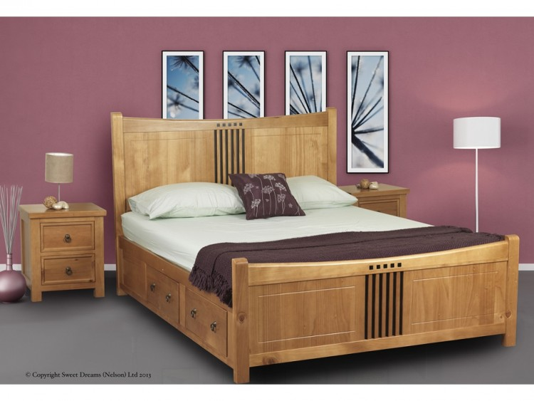 Sweet Dreams Curlew Oak 4ft 6 Double Wooden Bed Frame With