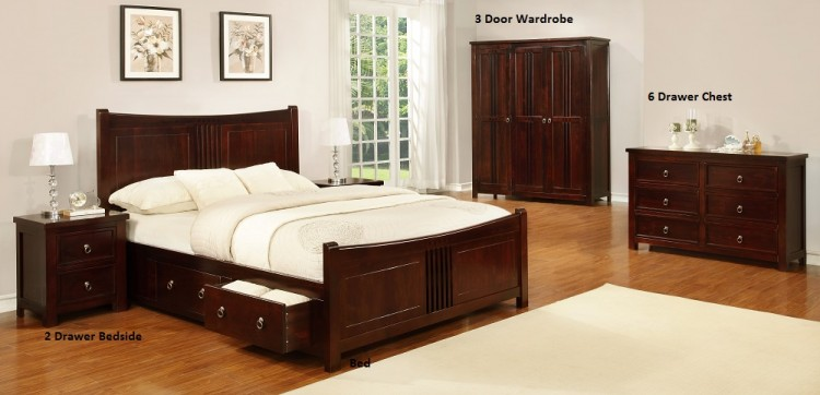 Sweet Dreams Curlew Wild Cherry 4ft 6 Double Wooden Bed