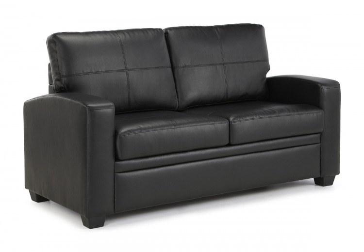 Serene turin black faux leather sofa bed by serene furnishings for Black divan bed with mattress