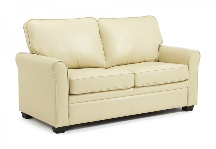 Serene Naples Cream Faux Leather Sofa Bed By