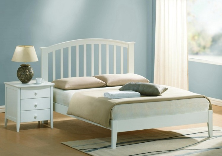 Joseph Lana 4ft6 Double White Wooden Bed Frame By Uk Bed Store
