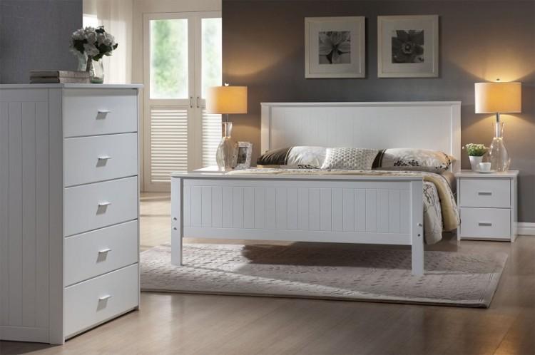 joseph larissa 4ft6 double white wooden bed frame