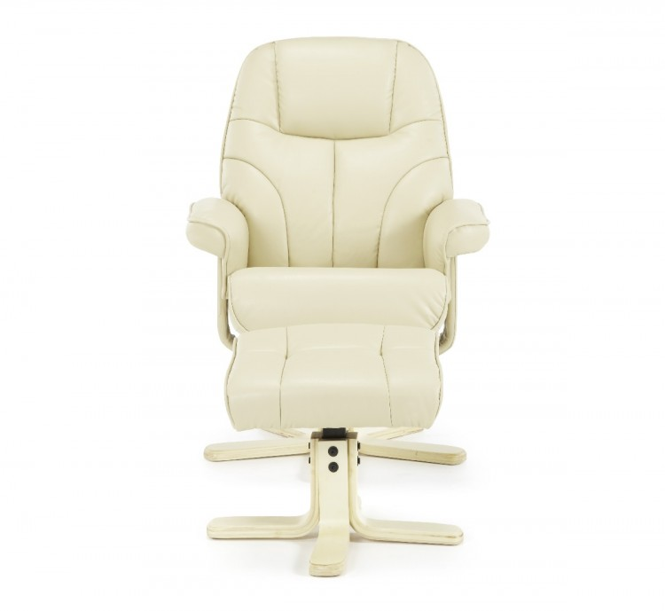 serene bodo cream faux leather recliner chair by serene furnishings