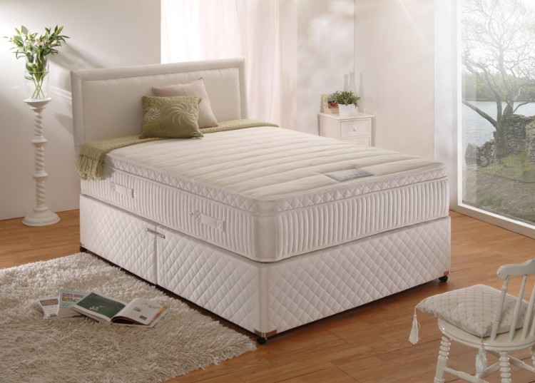 Dura bed pocket latex 1000 pocket sprung 4ft small double for Double divan bed with pocket sprung mattress