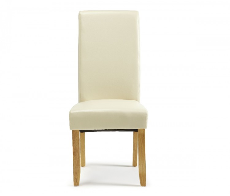 Serene Merton Cream Faux Leather Dining Chairs With Oak