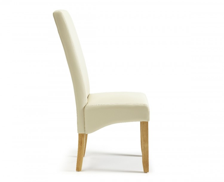 serene merton cream faux leather dining chairs with oak legs pair by