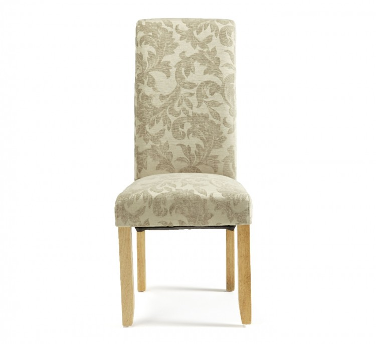 Serene Kingston Sage Floral Fabric Dining Chairs With Oak Legs (Pair)  Serene ...