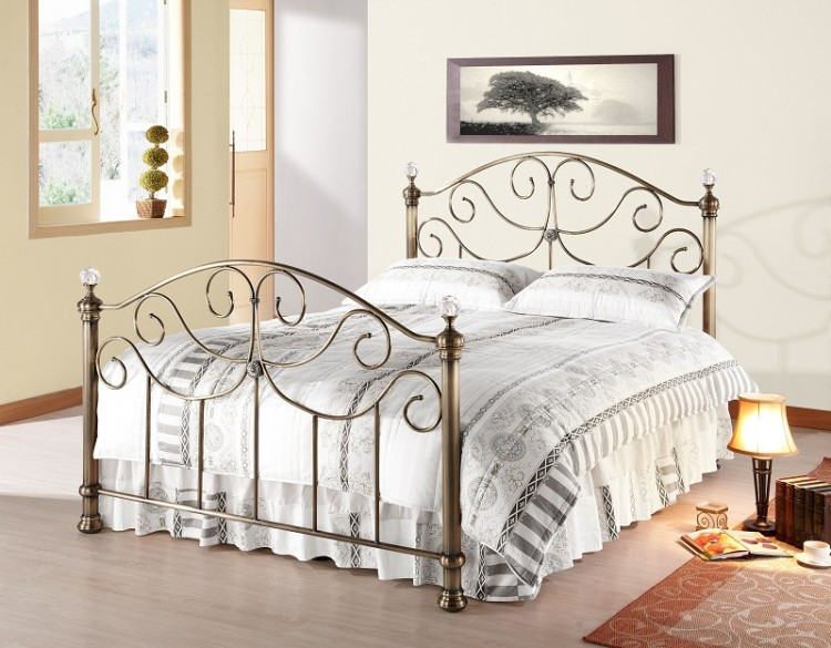 48799e86b863 Time Living Victoria 4ft6 Double Brass Metal Bed Frame with Crystals ...